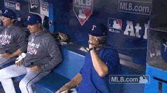 mlb baseball texas rangers alds dugout game 3 hang up Hang up the phone doug brocail dugout phone bullpen phone #humor #hilarious #funny #lol #rofl #lmao #memes #cute