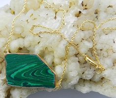 New fashion Synthetic Malachite gemstone electroplated brass chain nice necklace #MagicalCollection #Pendant