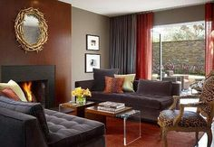 Contemporary Living Brown Furniture Room Decor Paint Colors