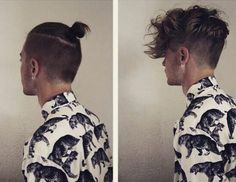 mens hair top knot down - Google Search