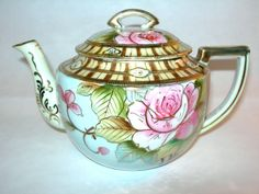 Nippon Hand Painted Teapot Pink Roses Beaded Gold Trim