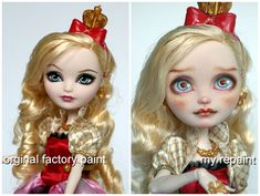 before and after bratz doll repaints Monster High Art, Monster High Repaint, Monster High Dolls, Bratz Doll, Ooak Dolls, Ever After Dolls, Food Sculpture, Doll Makeup, Doll Painting