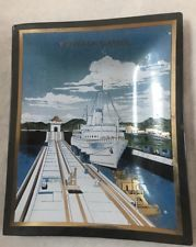 Vintage Panama Canal, Vintage Ashtray, Black Glass Houze Art Tray/Dish