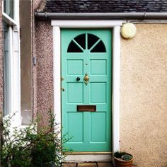 Farrow & Ball Inspiration - colour Arsenic not the door itself Farrow Ball, Farrow And Ball Paint, Front Door Colors, Front Doors, Contemporary Kitchen Cabinets, Green Cabinets, House Entrance, Entrance Hall, Painted Doors