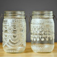 Pair of Bohemian Decor Hanging Mason Jar Lanterns,Vintage Lace Designs in White Pearl - on Crystal Clear Glass