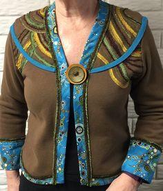 Adorned Brown Sweatshirt Jacket for Women, Ladies Sweatshirt Jacket,  https://www.etsy.com/listing/272088354/adorned-brown-sweatshirt-jacket-for?ref=listing-shop-header-3