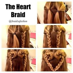 Heart Braid Tutorial from Braids N' Fashion.  Split the top layers into two • Braid each one • Twist them both inwards and around, pin them in place • Tie the braids together to create the heart shape Hope that helped! It's really simple and easy to do.