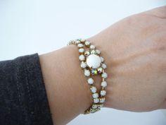 Milk Glass Rhinestone Bracelet Gold Tone by TreasuresOfGrace, $45.00