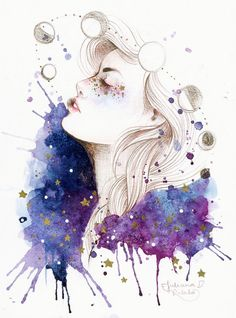 Beautiful watercolor painting with gorgeous girl. Watercolor Paintings Tumblr, Watercolor Art, Art Paintings, Art And Illustration, Landscape Illustration, Arte Inspo, Painting & Drawing, Amazing Art, Art Drawings