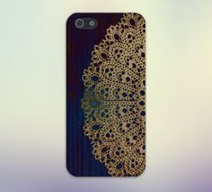 Gold Lace Doily x Dark Blue Wood Design Case for iPhone 6 6 Plus iPhone 5 5s 5c 4 4s Samsung Galaxy s6 s5 s4 & s3 and Note 5 4 3 2