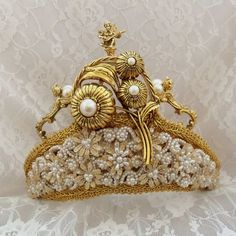 Bridal Crown, Gold Renaissance Angels, white n ivory beading, Victorian  Steampunk wedding Tiara, OOAK Bridal Accessory.  This is an exquisite  vintage couture bridal crown.  Three cherubs stand atop...