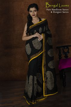 A beautiful Chanderi Cotton Designer Saree available for sale from Bengal Looms