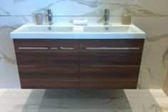 walnut base cabinets and white upper cabinets Walnut, Cabinet, Kitchen Remodel, Girls Bathroom, Modern, Bathroom, Walnut Cabinets, Base Cabinets, Upper Cabinets