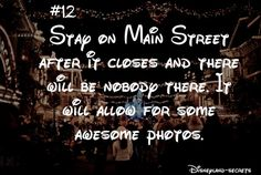 Disneyland Amazing Tips 2019 - Stay on Main Street after the park closes. No one& be there = aweseome pho. Disneyland Secrets, Disneyland Vacation, Disney Vacations, Disneyland Quotes, Disneyland Hacks, Family Vacations, Cruise Vacation, Disney Cruise, Vacation Destinations