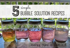 Save $ with 5 Recipes to make Homemade Bubble Solution using stuff you probably already have at home.  ***Teaching Mama (on Capri + 3) shares what recipes work the best!