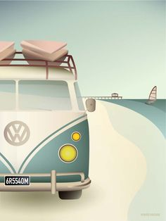 Packed full of excitement and good vibes, the VW Camper is headed for wide beaches and high waves. Buy the poster right here! Volkswagen, Bus Vw, Vw T1, Baby Posters, Ski Posters, Cool Posters, Poster On, Poster Print, Vw Camper