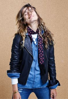 madewell washed leather motorcycle jacket worn with the denim lace-up shirt.