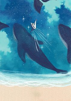 staircase to the stars fantasy art fiction Ocean Wallpaper, Anime Scenery Wallpaper, Whale Illustration, Whale Art, Sea Art, Blue Whale, Realistic Drawings, Illustrations, Art Sketches