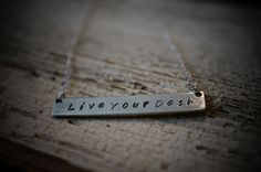 Personalized Sterling silver Bar necklace Live your by EBsJewels, $50.00
