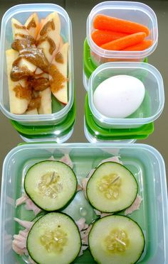 Apple Nachos - sliced apple drizzled with peanut butter or almond butter and sprinkled with cinnamon. Cucumber Sliders - sliced turkey between cucumber slices. Hard boiled Egg - with Mrs Dash table blend seasoning, pepper and a shot of Tabasco. Baby Carrots