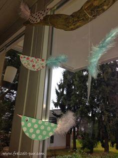 StampinUp! Designerpapier Frisch und Farbenfroh Papiervögel, Basteln mit Kindern, Fensterdeko, Ostern, Federn