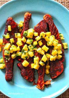Blackened Salmon with Mango Salsa.