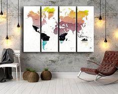 Large Canvas Prints Modern Wall Art for Home & by WALLARTSDECOR Blue Wall Decor, Canvas Wall Decor, Tree Wall Art, Modern Wall Decor, Wall Art Decor, World Map Canvas, Large Canvas Prints, Unique Wall Art, Home Art