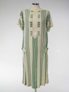 "1927-28 English silk day dress. Here's one of those hard-to-find extant day dresses. Being of silk, it was a ""better"" dress than the cotton house or porch dresses, and may have been preserved as a favorite."