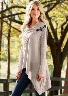 Basket weave sweater...like toggle on the shoulder of this loose wrap cardigan. could also be cool on big shawl