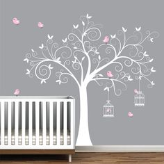 Wall Decal Tree with Bird Cages-Children Nursery Wall Decals Stickers Vinyl