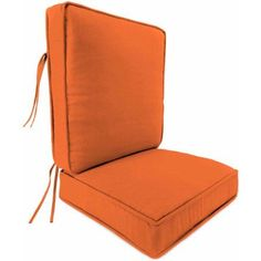 Jordan Manufacturing Outdoor Patio - Boxed Edge Style 2 Piece Deep Seat Cushion with Piping, Orange