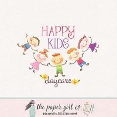 daycare logo kids logo design girl logo boy logo by ThePaperGirlCo Daycare Logo, Kids Daycare, Daycare Names, Kids Logo, Preschool Logo, Blog Logo, Happy Kids, Smile Kids, Design Girl