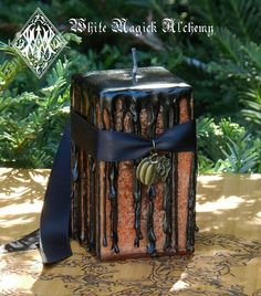 White Magick Alchemy - Hallows Eve Witches Magick Candle 2x3 Square, $12.95 (http://www.whitemagickalchemy.com/hallows-eve-witches-magick-candle-2x3-square/)