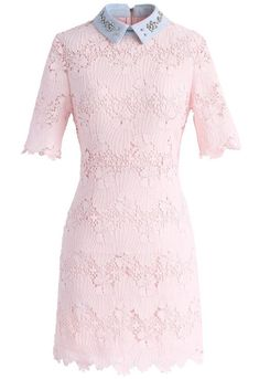 Chicwish Eternal Blessing Floral Crochet Dress with Beads Collar Pink Mini Dresses, Pink Floral Dress, Short Dresses, Floral Dresses, Look Fashion, Unique Fashion, Macrame Dress, Collar Dress, Classy Outfits