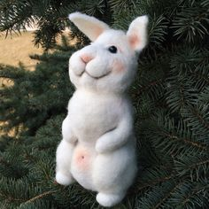 Needle felted animal, Needle felted hare, Hare toy, Hare handmade, Animals of felt, White hare, Toy animal, Waldorf,  Home decor, Decor toy by YourGattino on Etsy Needle Felted Animals, Felt Animals, Needle Felting, Handmade Toys, Hare, Pet Toys, Etsy, Vintage, Home Decor