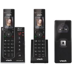 VTech DECT Expandable Cordless Phone with Audio/Video Doorbell and Answering System, Black, 2 Handsets with 1 Video Doorbell Wireless Camera, Caller Id, Home Phone, Video Camera, Digital Technology, Telephone, Digital Camera, Audio, Consumer Electronics