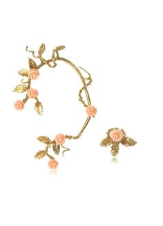 Bernard+Delettrez+Bronze+Ear+Cuff+w/Pale+Pink+Resin+Roses