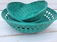 4 Sea Glass Green Wicker Picnic Serving Baskets Colorful Painted Upcycled Spring Summer Outdoor Dining Hostess Gift (B016)