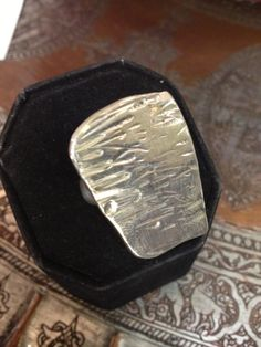 Abstract modernist large textured silver ring by SilverofOz, $115.00
