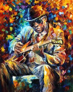 JOHN LEE HOOKER — Artistic Signed Print on Cotton Canvas By Leonid Afremov
