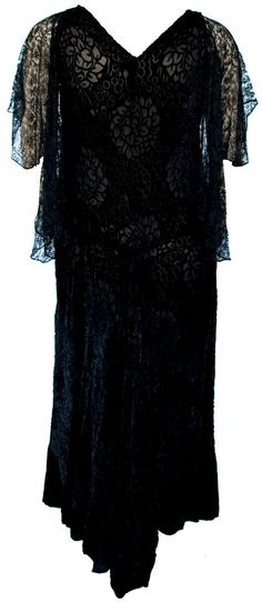 1920s Dress Burnout Velvet Black Sheer Goth Sexy Oversize Plus Size Witch Lace Silk Gypsy Flapper Great Gatsby Cocktail Evening Glam Wedding