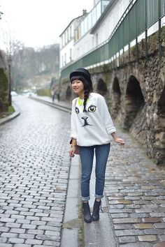 Sweater Chicwish, Jean Levi's, Hat H, Boots Acne | Funny cat ! (by Leeloo P) | LOOKBOOK.nu