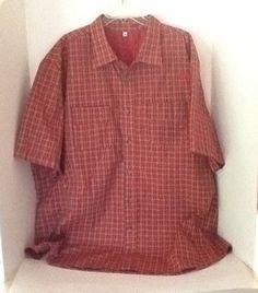 Disney Cast Member Uniform 5XL Red Plaid Mens Shirt Worldwide Services Male Employee $27.99 on ebay
