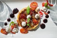 Baked Onion and Tomato Tart tatin off new #ShimmywinterMenu. a la carte  Book now at Shimmy Beach Club, Cape Town info@shimmybeachclub.co.za or 021 200 7778 Baked Onions, V&a Waterfront, Romantic Meals, The V&a, Beach Club, Caprese Salad, Cape Town, Vegetable Pizza, Tart