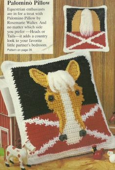Crochet Palomino Horse Pillow I have to make this for my son! It´s so cute!!!