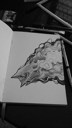 on behance moleskine/sketchbooks/ink татуировки, Ink Pen Drawings, Easy Drawings, Pen Sketch, Sketches, Doodle Drawing, Smoke Drawing, Moleskine Sketchbook, Sketchbooks, Daily Drawing