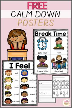Calm down corner or calm down area resources. Free posters and student printables to help you create a calming or brain break area in your classroom for kids. #SEL #classroommanagement #studentdisciplineideas