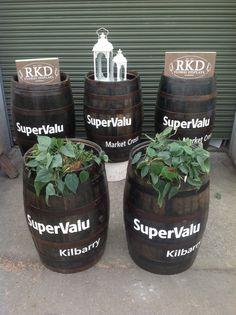 Customized barrels by RKD Floral Displays Whiskey Barrels, Jar, Display, Floral, Decor, Floor Space, Decoration, Billboard, Flowers