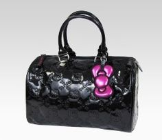 An image of Hello Kitty Black City Patent Handbag,this is great fi=or the summer!!