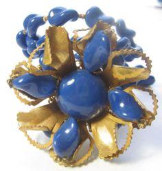 MIRIAM HASKELL Blue Glass Flower VINTAGE Statement Wrap BRACELET Signed. LOVE IT!